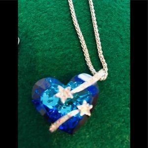 Blue with  faux diamonds Swarovski necklace.